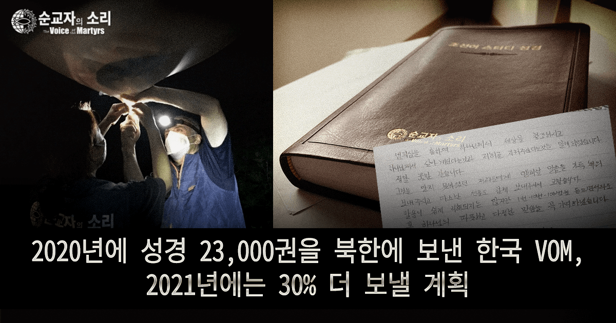 VOMK SENT 23,000 BIBLES TO NORTH KOREA IN 2020, PROJECTS 30% MORE FOR 2021